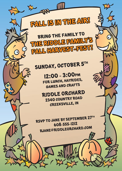 Harvest Party Invitation – Fall Party Invitation Wording