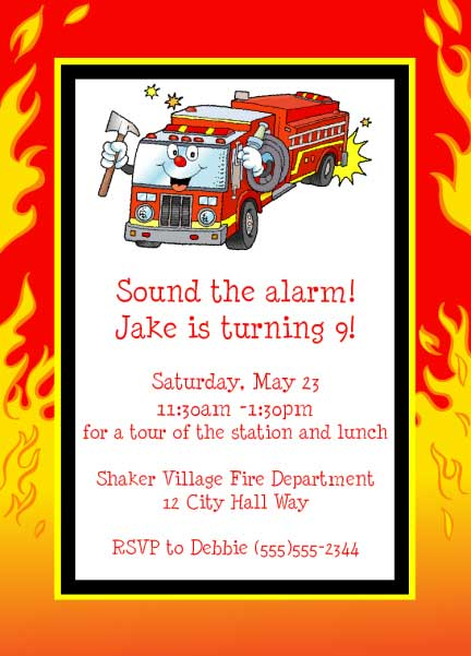 Firefighter Kids Birthday Invitation