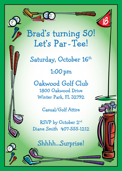 Golf party invitation filmwisefo