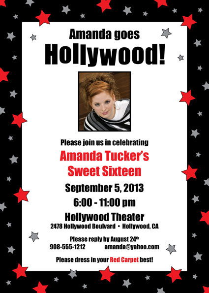 Hollywood Star Birthday Party Photo Invitation