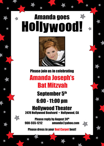 Hollywood Star Party Photo Invitation