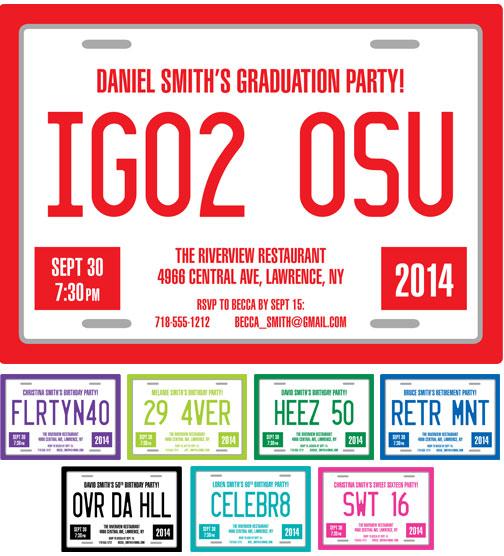 Graduation License Plate Invitation
