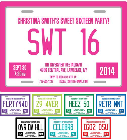 Sweet 16 License Plate Invitation