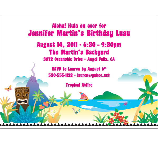 Tropical Christmas Party Ideas.Luau Beach Party Invitation