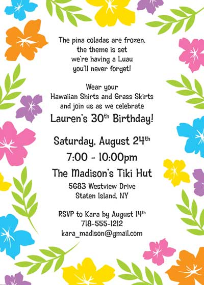a luau hibiscus party invitation, Party invitations