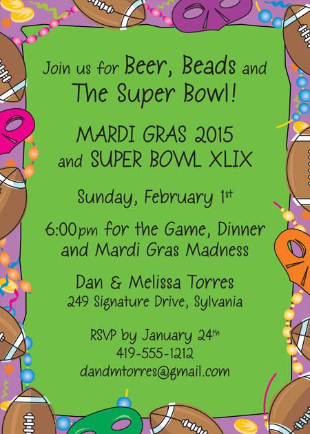 Mardi Gras Super Bowl Invitation