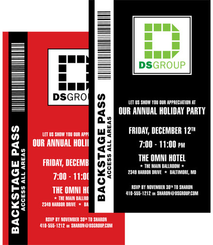 Corporate Party Backstage Pass Invitation