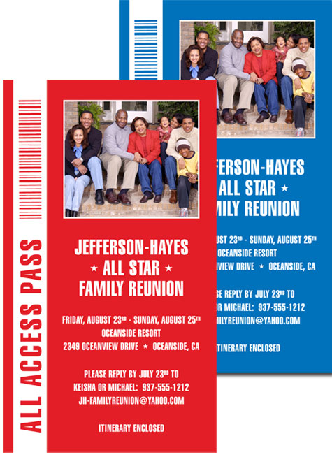 Backstage Pass Invitation, Family Reunion
