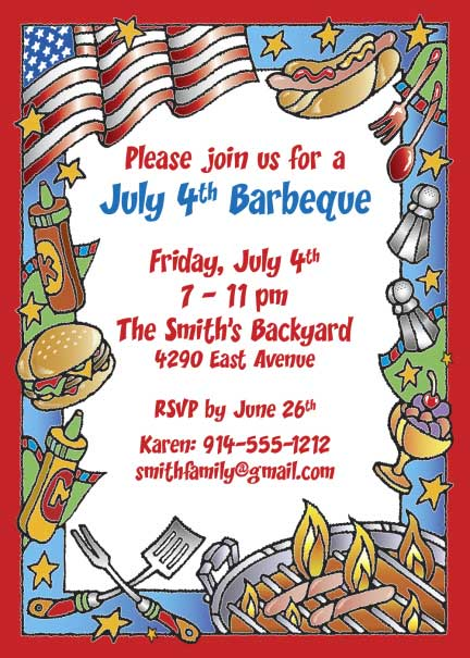 Patriotic Party Barbecue Invitation