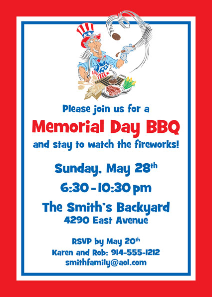 American Patriotic BBQ Party Invitation
