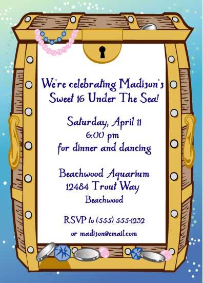 Under The Sea Treasure Party Invitation