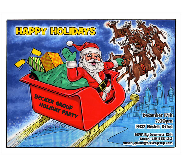 Christmas Caricature Invitation or Holiday Card, Santa
