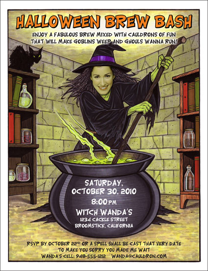 Halloween Add A Face Invitation Witch