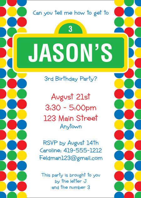 Birthday Sesame Street Invitation