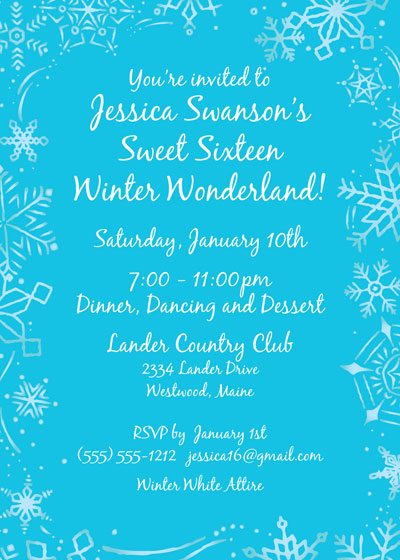 snow party theme invitation, Party invitations