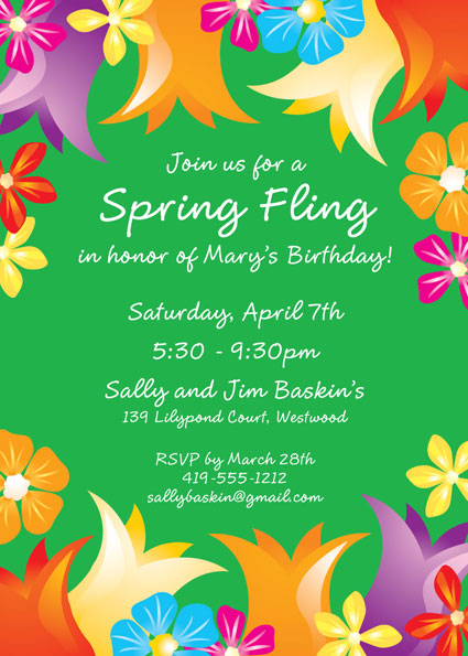 Bright spring flowers invitation mightylinksfo