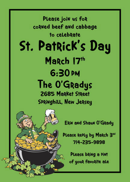 St. Patrick's Day Leprechaun Party Invitation
