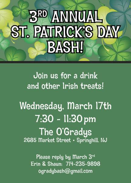 St. Patrick's Day Green Shamrocks Invitation