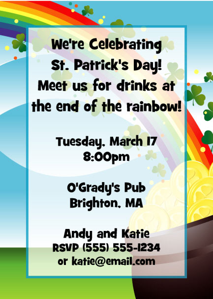 St. Patrick's Day Gold & Rainbow Invitation