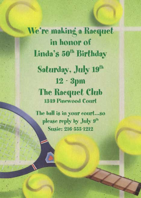 tennis party invitation