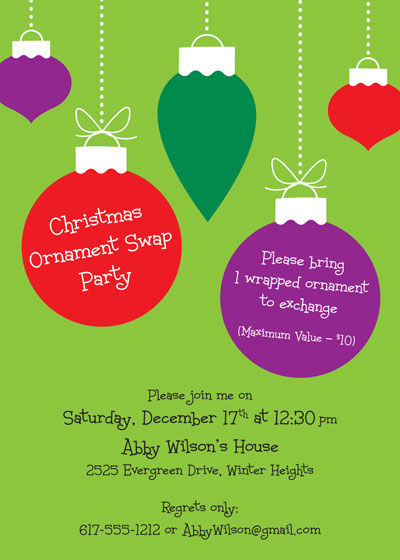 Christmas Ornaments Invitation