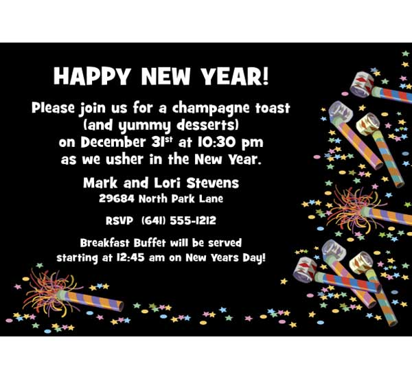 Noisemakers New Years Invitation