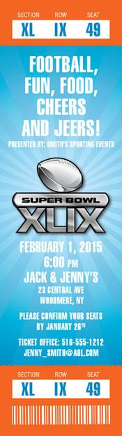 2015 Super Bowl XLIX Logo Ticket Invitation