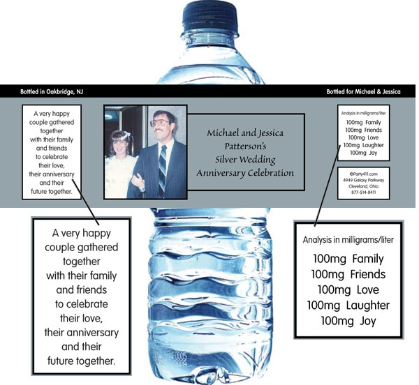 25th Anniversary Theme Bottle Label, Water