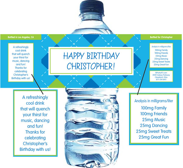 Blue Argyle Water Bottle Label