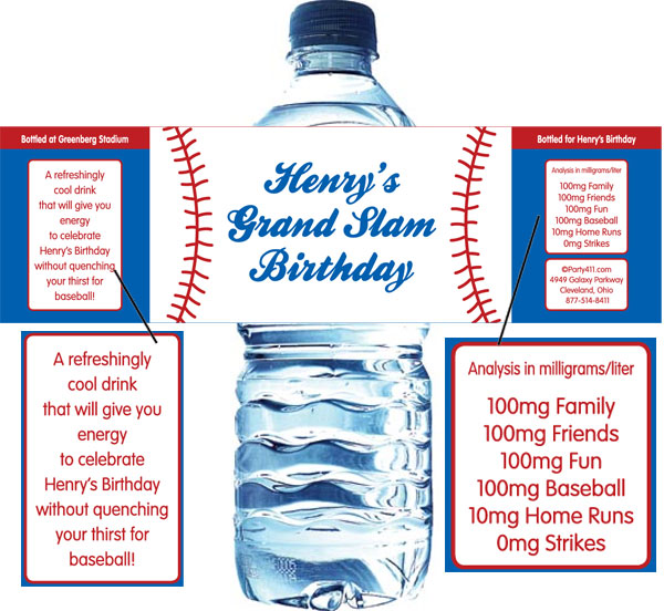 Baseball Theme Water Bottle Label