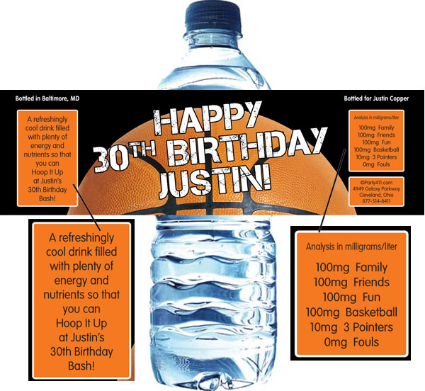 Basketball Party Theme Water Bottle Label