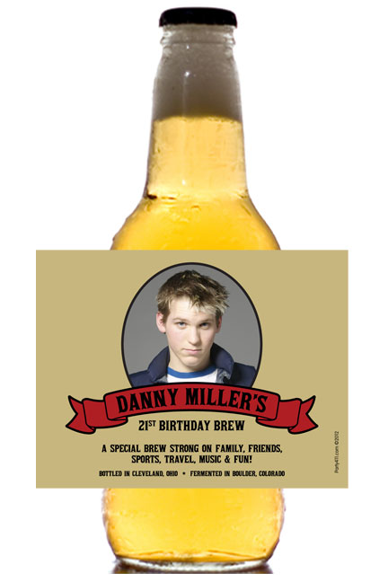 Birthday Photo Theme Beer Bottle Label