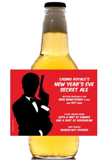 Casino Royale Theme Beer Bottle Label