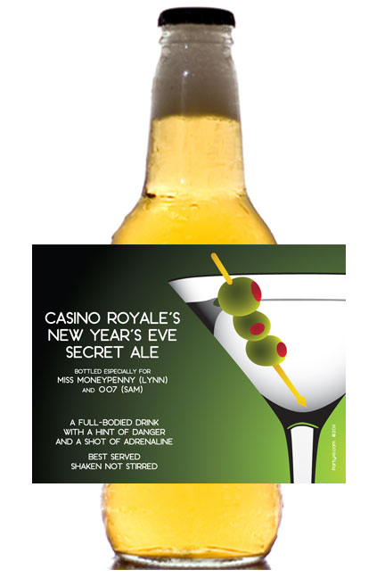 Casino Royale, Martini Theme Beer Bottle Label