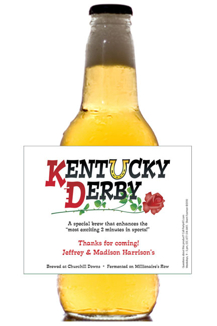 Kentucky Derby Party Theme Bottle Label, Beer