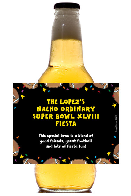 Super Bowl Fiesta Theme Beer Bottle Label