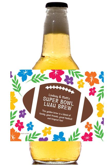 Super Bowl Luau Theme Beer Bottle Label