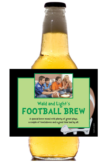 Football Photo Theme Beer Bottle Label