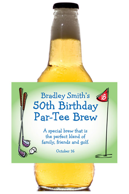 Golf Party Theme Beer Bottle Label