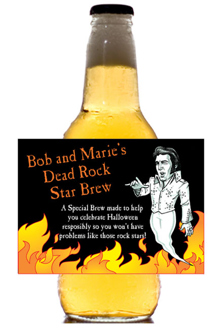 Halloween Rock Star Theme Beer Bottle Label