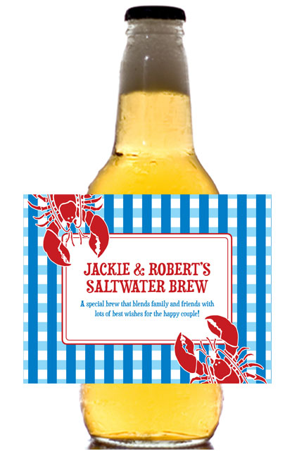 Lobster Theme Beer Bottle Label