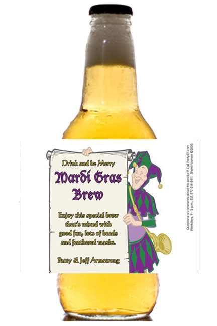 Mardi Gras Jester Theme Beer Bottle Label