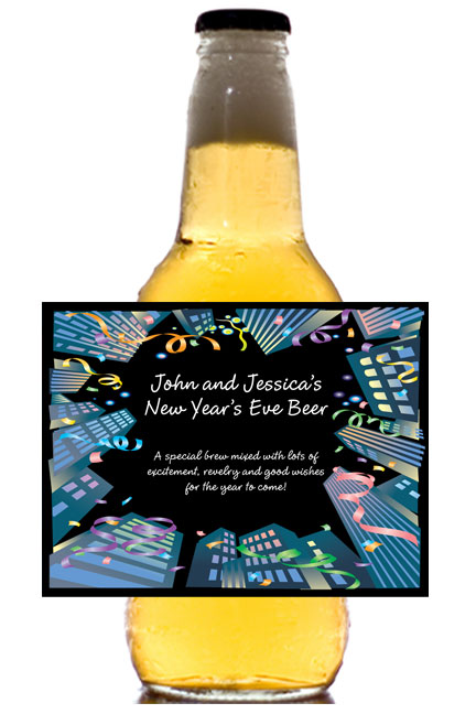 New Years Downtown Theme Beer Bottle Label