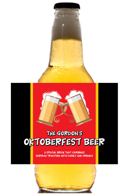 Oktoberfest Flag Theme Beer Bottle Label