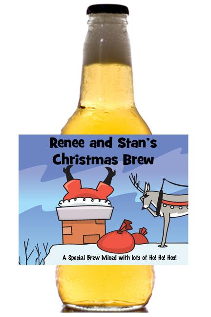 Christmas Santa Oops! Theme Beer Bottle Label