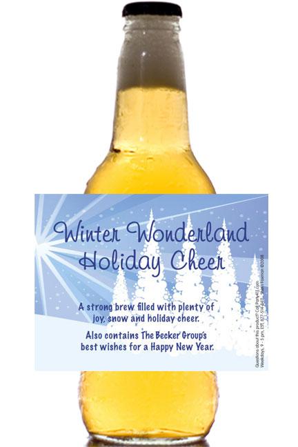 Winter Wonderland Theme Beer Bottle Label