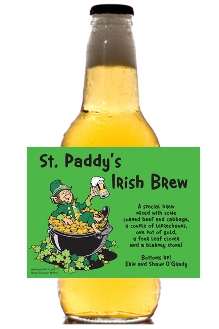 St. Patrick's Day Leprechauns Theme Label - Beer Bottle