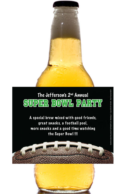 Football Party Theme Beer Bottle Label