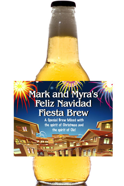 Fiesta Holiday Theme Beer Bottle Label