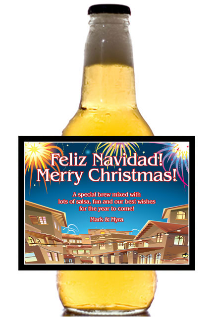 New Years Fiesta Theme Beer Bottle Label